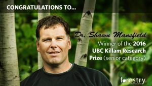 Congratulations Shawn Mansfield on being awarded a 2015 UBC Killam Research Prize