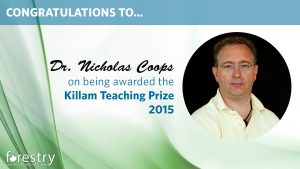 Congratulations Nicholas Coops on being awarded the Killam Teaching Prize for 2015