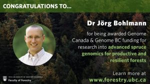 Joerg Bohlmann receives Genome Canada and Genome BC funding