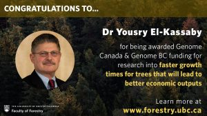 Yousry El-Kassaby receives Genome Canada and Genome BC funding
