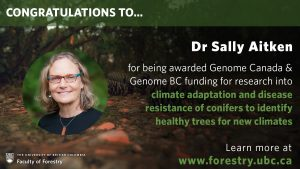 Sally Aitken receives Genome Canada and Genome BC funding