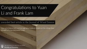 Yuan Li and Frank Lam awarded best article in the Journal of Wood Science