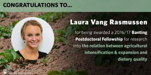 Congratulations to Laura Vang Rasmussen for being awarded a 2016/17 Banting Postdoctoral Fellowship