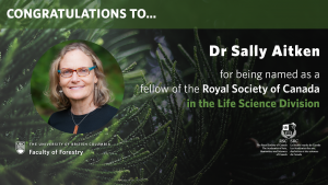Congratulations to Sally Aitken for being named as a fellow of the Royal Society of Canada