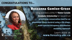 Congratulations to Roseanna Gamlen-Greene for being awarded a Vanier Canada Graduate Scholarship