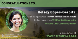 Congratulations to Kelsey Copes-Gerbitz for being awarded the UBC Public Scholars Award