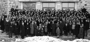 """Sopron School of Forestry group picture on the steps of the Biology building."" 1 January 1957. University of British Columbia Archives [UBC 1.1/778]"