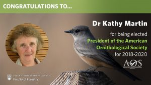 Kathy Martin Elected President of the American Ornithological Society